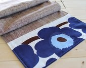 Modern Table Runner, Marimekko and linen, reversible mid century design - nellgleason