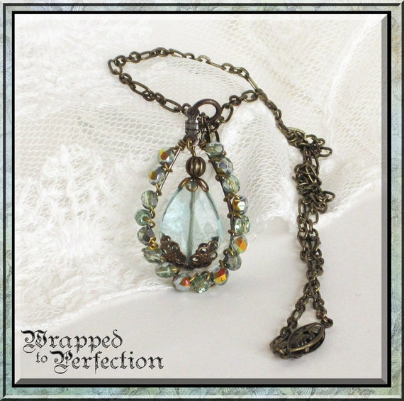 Aqua Quartz & Brass Necklace / Wire Wrapped Pendant/ Teardrop Hoop / Antique Brass / Romantic / Ornate / Downton Abbey / Dramatic