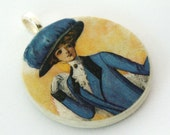 Pendant, High Society, Handmade Decoupaged, FREE SHIPPING - retropage
