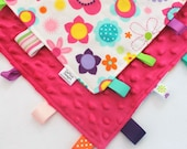 Bright Floral, Tag Ribbon Lovey, Dark Pink Minky Dot - DeMossDesigns