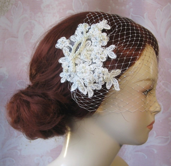 Ivory Birdcage Veil and Lace Bridal Fascinator, Vintage Style Bandeau Birdcage Wedding Veil and Lace Hair Clip - GUINEVERE