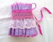 Lilac Shantung Silk Pink Lace and Fuchsia Ribbon Ruffle Cuff  Bridal Wedding Fun Statement - OnePerfectDay