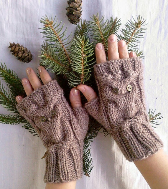 Alpaca Owl Brown Beige Soft Warm Hand Knitted Fingerless Gloves