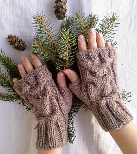 Alpaca Owl Brown Beige Soft Warm Hand Knitted Fingerless Gloves