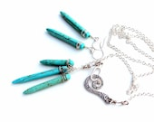 turquoise sticks necklace. earring and necklace set. wire wrapped teal gemstone pendant. handmade necklace uniquenecks jewelry