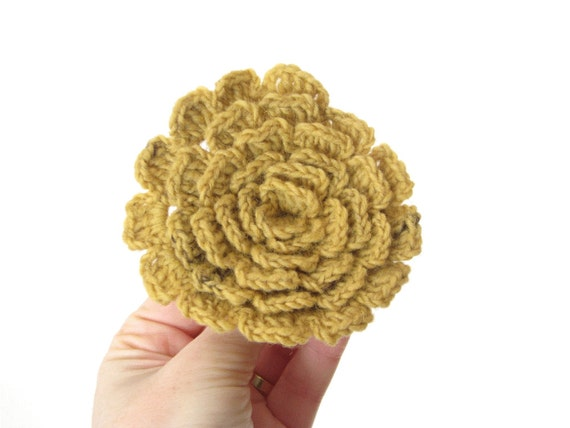 Mustard yellow flower pin brooch - handspun and hand-dyed wool