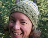 Hand Knit Hat - SAGE GREEN - Fair Isle - MoonDanceTextiles