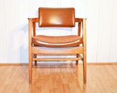 Gunlocke Mid Century Danish Office Chair in Brown and Walnut - snu2vintage