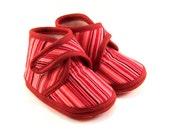 Baby Booties Striped Baby Shoes Newborn Winter Red Pink Burgundy Girls Children