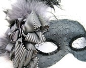 Black and Gray Masquerade Mask- with feathers and veil - PetalAndThorn