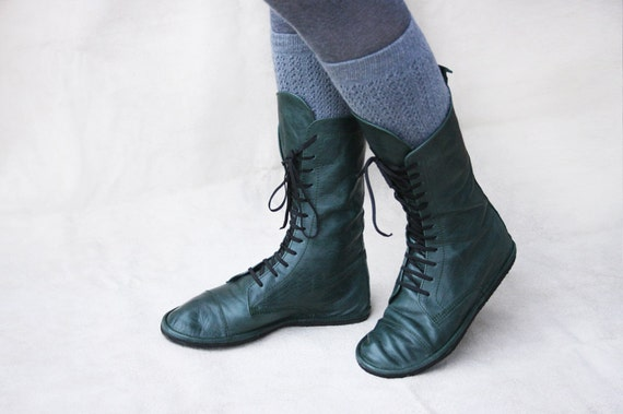 Impulse in Green - Handmade Leather Boots - CUSTOM FIT