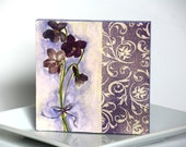 Purple violet flowers decoupage mug coaster, handmade, perfect gift for her him hostess, housewarming, floral cozy - CatHot