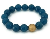 Teal blue with matte gold stretch bracelet bohemian fashion - Ahkriti