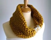 Hand-knit Chunky Infinity Scarf / Cowl / Neckwarmer - Mustard Yellow - Women - Christmas Gift Idea, Winter Fashion, Under 100 - wheretheresawool