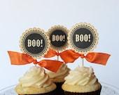 Boo Halloween cupcake toppers - set of 12 - SongbirdGreetings
