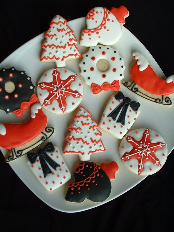 Christmas Holiday cookies - 1 dozen black white and red Christmas cookies