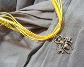 Silver Bee on Yellow Fancy Ribbon Necklace - Handmade by Rewondered D225F-00005