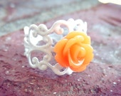 Tangerine Rose White Filigree Ring
