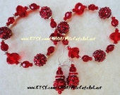 CLEARANCE Bangle Bracelet Duo, Drop Dangle Earring Set Ruby Red Rhinestone, Czech Crystal and German Silver Beads- HEART On Your SLEEVE