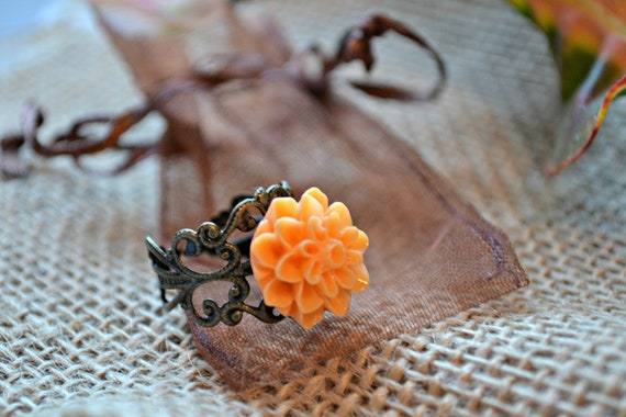 Orange Mum Cabochon and Bronze Filigree Adjustable Ring