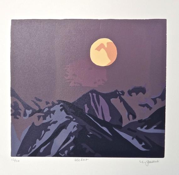 "Mountain Range Linocut Print with Signature, ""Ascen"