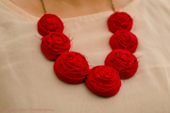 Red rosette bib necklace, wedding statement necklace, bridesmaids unique necklace