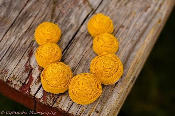 Mustard rosette statement bib necklace wedding bridesmaid gifts