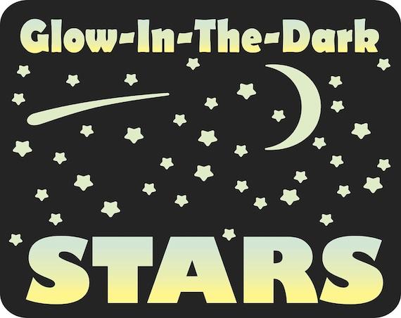 Bedroom Ceiling & walls Glow in the Dark Stars and Moon - self adhesive vinyl