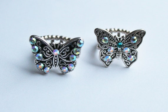 Metal rings, adjustable rings, butterfly rings, Fleur de Lis ring, Silver rings