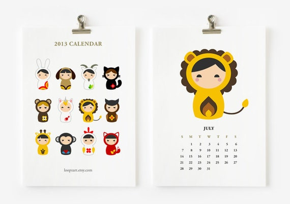 Animal Matryoshka 2013 calendar