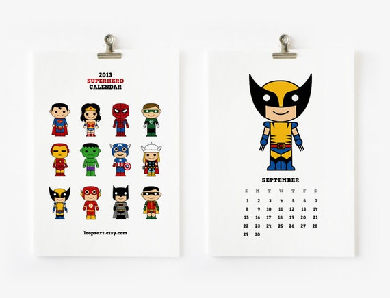 2013 Calendar Cute Superhero 4 x 6