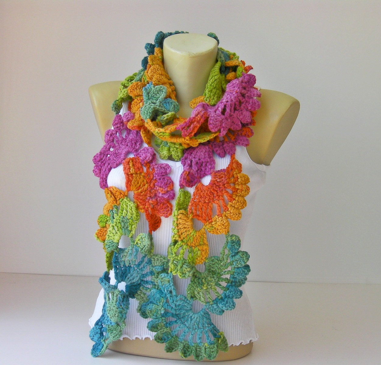 Crochet scarf rainbow colors scarf woman scarf gift by SenaShop Crochet Scarf Two Colors