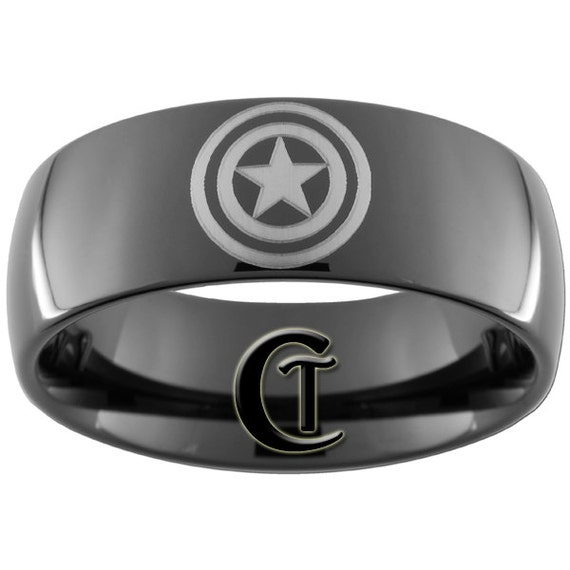 9mm Black Dome Tungsten Carbide Captain America Ring Sizes 5-15 - FREE Shipping