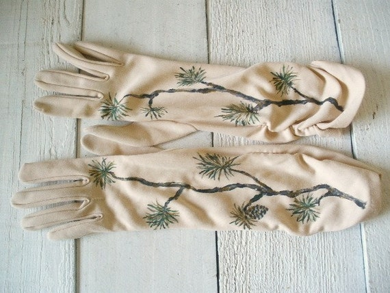 Vintage tan gloves mid length hand painted pine branches