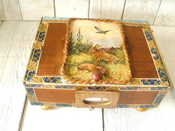 Vintage cigar box woodland embellished rabbits bird postcard