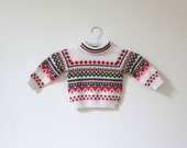Vintage Red and Green Patterned Ski Sweater (12-18 months) - littlereadervintage