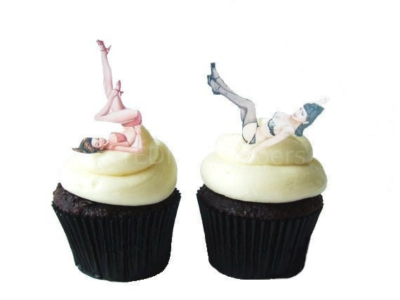 EXCLUSIVE - Edible Pinup Girls -  12 Cupcake Toppers - Cake Decorations - For Him  - Pin Up - Cake Topper