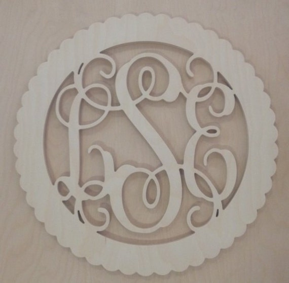 18 inch BORDER Vine connected wooden monogram letters - round with scalloped edges