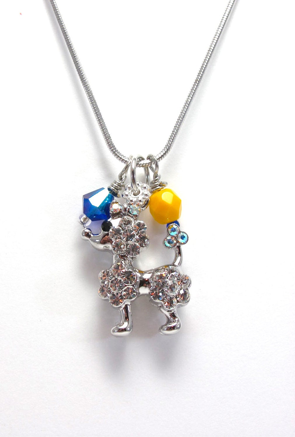 Photo Charm Necklace on Poodle Charm Necklace   Royal Blue And Gold Crystal Beaded Necklace