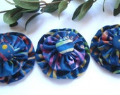 Batik Fabric Flower Appliques Blue Multi Color  - Set of 3 - BellaTresses