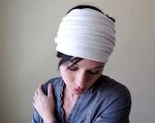 Ivory Head Scarf - All in One Neck Bow, Ascot, Hair Wrap, Headband - Ribbed Sweater Scarf - Fall Fashion Accessory - EcoShag