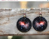 SALE Universe Earrings Nebula Space Dangle Round Jewelry, diameter 4cm (1,57 inch) , gift for her under 25 - MADEbyMADA