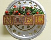 Vintage Industrial Christmas Wall Hanging - Wreath - RusticAttic