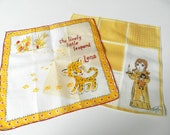 Vintage Yellow and White Children Hankies Lena the Leopard with Googly Eyes Set of 2 - hollandvstk