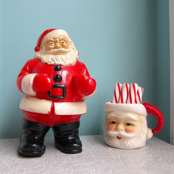 Vintage Plastic Santa Christmas Decoration - Light - 1950s
