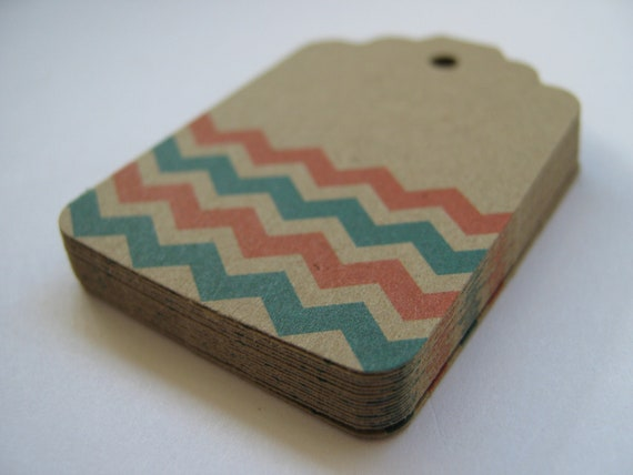 Chevron Kraft Swing Tags for Gifts, Favors, Prices or Paper Crafts-  Set of 75
