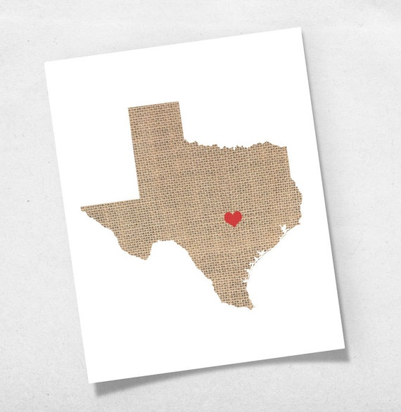 Texas State Map Custom Personalized Heart Print I Love TX USA Hometown Wall Art Gift Souvenir
