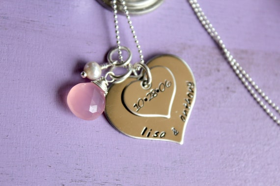 Stacked hearts- hand stamped necklace