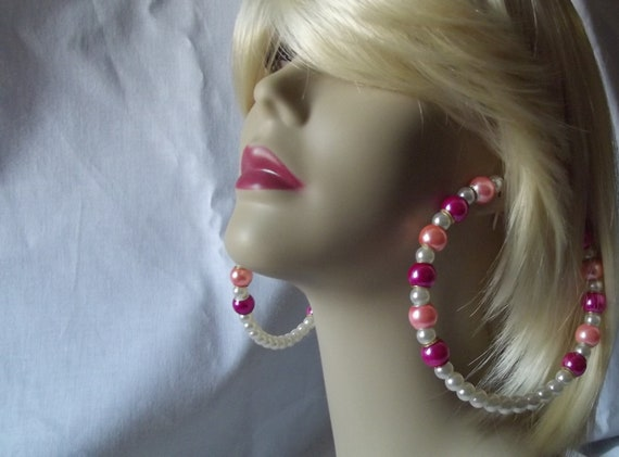 Pink Bubblegum Pop Pearl Beaded Hoop Earrings w/ Pandora style pearl Charms .925 SS