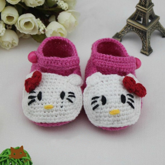 White Crochet Baby Booties  rose red hello kitty  baby shoes purple red strap with button